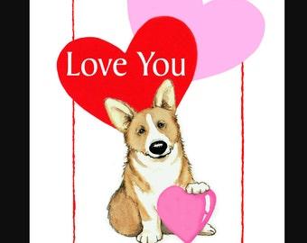 Pembroke Welsh Corgi Valentine Card