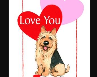 Australian Terrier Valentine Card