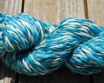 Handspun Yarn, Bulky Yarn, AquaStripe, 7 wpi, wool yarn, 110 yards, Wool Yarn