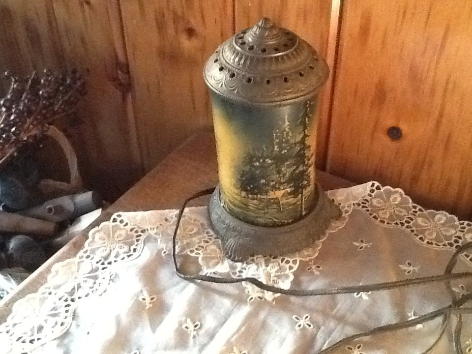 Motion Lamp Cabin In The Forest Rare 1800 S Victorian