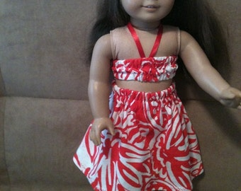 18 inch doll (modeled by American Girl) Hawaiian Hula outfit with hair flower