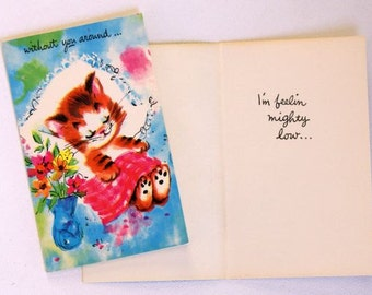 1960s vintage Missing You greeting card , unused