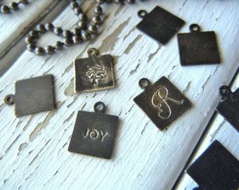 Vintaj 9mm Altered Blank Squares - Pack of 6 - Natural Brass - Metal Stamping Blank for Hand Stamped Jewelry