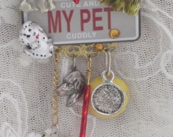 DOG Jewelry - My Pet PUPPY  PiN -  Cute and Cuddly - License Plate  Brooch - SALE