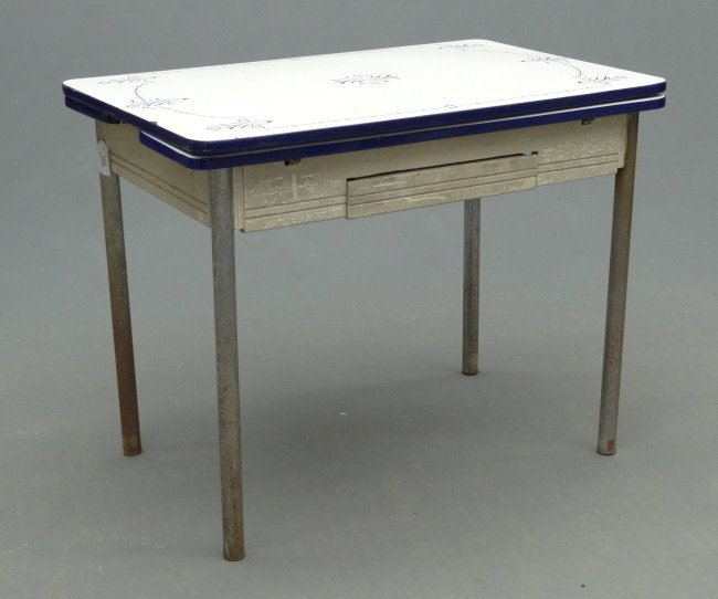 Hold For Aerie Vintage Enamel Top Table Crisp Blue And White
