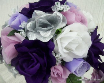 24 pieces MaDe to order Brides on a Budget  SPRiNGTiMe Flower Package WeDDiNG BouQuets PuRPLe,LaVeNDaR,SiLVeR and WHiTe RoSeS