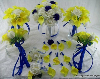 Yellow and Blue Wedding Flowers Real Touch Roses and Calla Lilies Wedding Flower Package Bridal Bouquet Boutonniers and Corsages