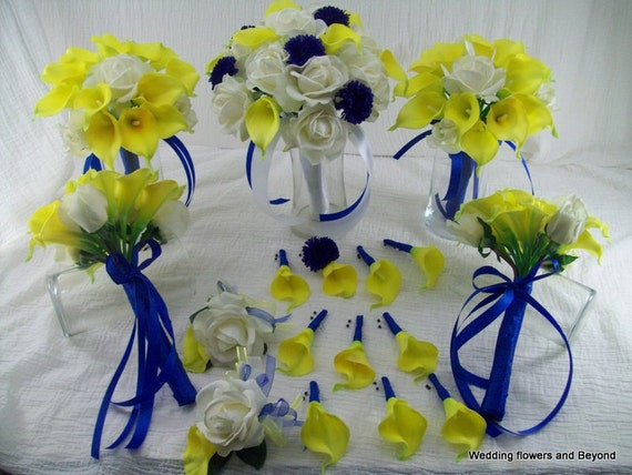 Yellow and blue wedding flowers real touch roses and calla for How are blue roses made
