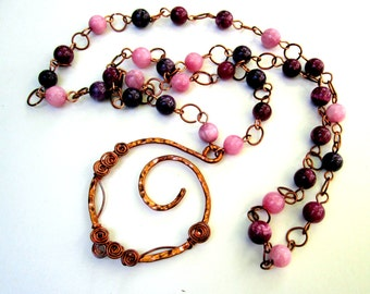 Wire Wrapped Copper Necklace with Pink Jasper