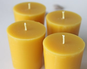 Pure beeswax votives, set of four, handmade candles