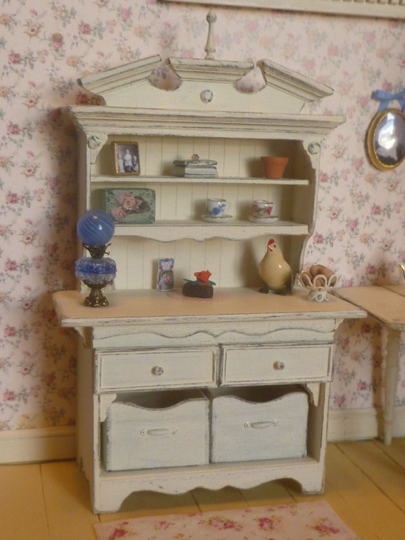 Shabby Chic Country Kitchen Hutch Buffet Cabinet For Dollhouse