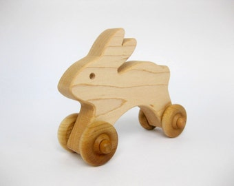 Wooden Bunny Push Toy, natural wood toy