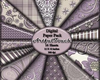 """Digital Paper, Digital Scrapbook Paper Pack, Purple Off White Damask, 16 Digital Background -12"""" X 12"""" - 300 DPI - INSTANT DOWNLOAD"""