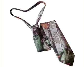 Skinny  or standard satin camo tie Realtree Hardwoods silk camouflage neck tie