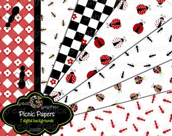 Picnic Party Paper Printable Picnic Party Invitation Paper Ladybug Paper Picnic Ants Digital Paper - Instant Download