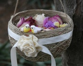 Wedding Flower Girl Basket, Rustic Outdoor Wedding Decor With Lovebird & Ivory Ribbon.