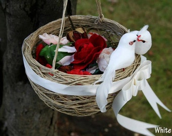 Wedding  flower girl basket with white lovebird and ribbon.