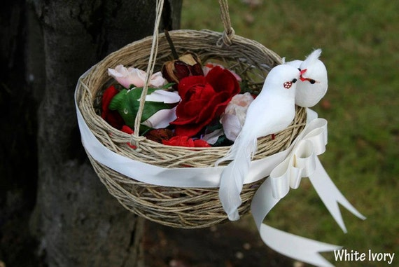 Flower Girl Baskets Canada : Items similar to wedding flower girl basket with white