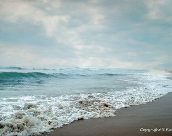 Beach Photography Ocean Coastal Shore Virginia Beach Photograph Aqua Blue Wall Art Seaside Decor 8x12
