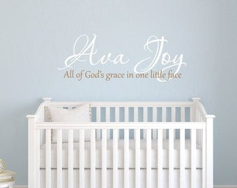 Child's monogram with All of God's grace quote vinyl wall decal
