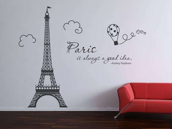 Paris Eiffel Tower Audrey Hepburn quote wall by ...