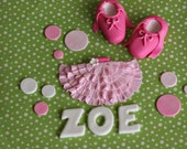 Fondant Ballet Slippers, Tutu, Polka Dot and Age Cake Decorations Perfect for a Ballerina Birthday Cake