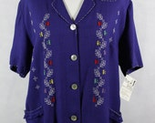 Vintage 50s Blue Hand Embroidered Womens Blouse or Jacket sz L16W 1X Plus Size - Rockabilly Ethnic