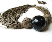 Ceramic Black Roses - linen necklace - GreyHeartOfStone