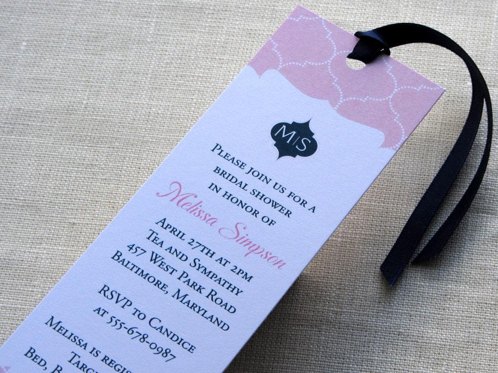 Wedding Invitations Money Gift Wording: Bridal Shower Bookmark Invitation Moroccan Baby By ImbueYouIDo