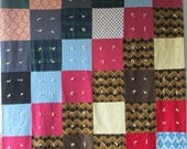 Retro BIG BLOCK Polyester Vintage Quilt Hand tied