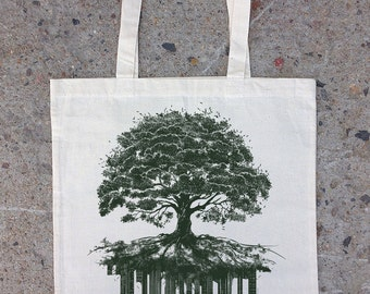 Tree and Crumbling City - Cotton Canvas Tote Bag