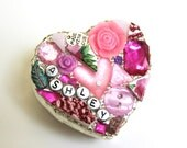 Silver Filigree Mosaic Heart Boxes - Personalized