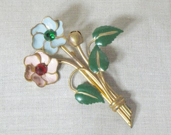 1940s Floral Pin Brooch Goldtone Pink Blue Rhinestone