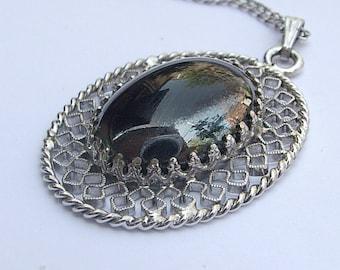 Vintage Whiting and Davis black glass pendant necklace, designer jewelry, filigree pendant, Pittsburgh