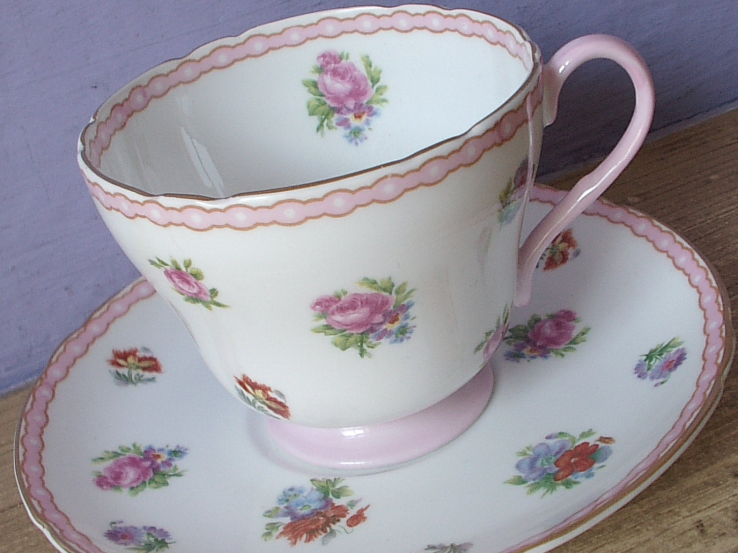 antique tea cup and saucer set shelley tea cup by. Black Bedroom Furniture Sets. Home Design Ideas