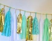 Dots for Days Aqua Loves Mint Sparkle & Shine Tissue Tassel Garland
