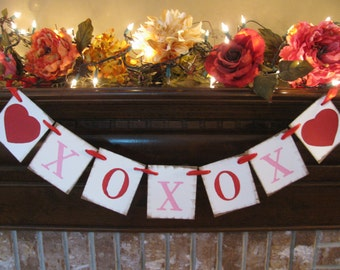 Valentine Banner Wedding Garland Hugs and Kisses Sign XOXOX  with Red Hearts  Great Photo Prop (V1)
