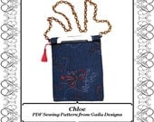 "iPad Mini PDF Sewing Pattern Kindle Fire 7"" Samsung Galaxy Tab 7"" Nook eReader case cover zipper shoulder strap lined ""Chloe"""