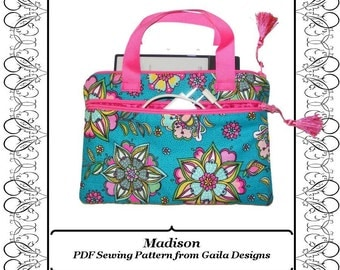 "EReader Kindle case cover PDF sewing pattern Nook Sony Kobo reader handles padded fully lined zipper ""Madison"""