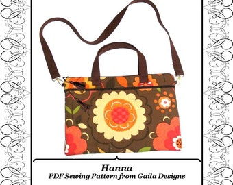 "PDF Sewing Pattern iPad Pro, Laptop, notebook, case cover with pocket zipper handles and shoulder strap fully lined ""Hanna"""