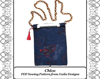 """iPad Mini PDF Sewing Pattern Kindle Fire 7"""" Samsung Galaxy Tab 7"""" Nook eReader case cover zipper shoulder strap lined """"Chloe"""""""