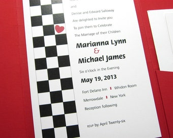 Modern Wedding Invitation Pocketfold Red Heart Bold Contemporary Geometric Checkerboard Custom Invite Red Linen Pocket