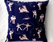 60% off CLEARANCE SALE! Baby Gift - Pillow Case, Nursery, Kids bedroom Pirates - Navy blue, Red, White - Out to Sea, Sarah Jane Fabric 14x14