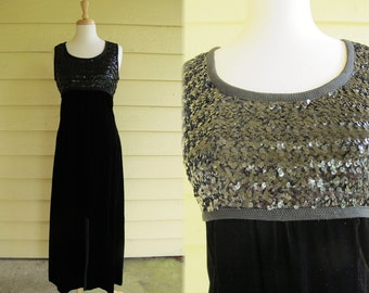 1960s Maxi Dress / 60s Black Sequin Gown / Strikes Midnight