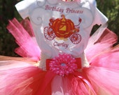 Pumkin Carriage Birthday Tutu Outfit / 3 piece set - sherbert tutu, carriage embroidered shirt, matching headband,