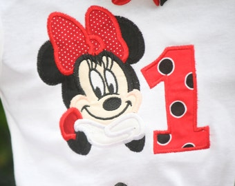 Minnie Mouse Embroidered Birthday Shirt.  Any Number 1-9.