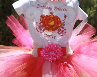 Pumkin Carriage Birthday Tutu Outfit / 3 piece set - sherbert tutu, carriage embroidered shirt, matching headband,