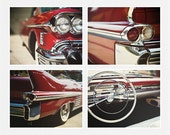 Red Cadillac Pictures, Classic Car Prints, Vintage Car Decor, 1950s Cadillac, Art for Men, Office Decor, Masculine set of 4 Prints.