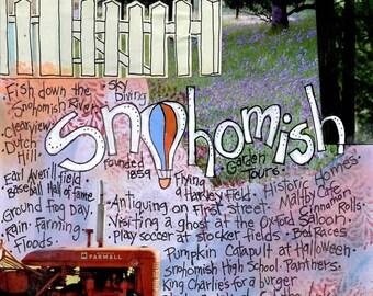 SNOHOMISH, WASHINGTON,  Northwest Art, Washington State Gift, Wall Art, NW Poster, Mixed Media  Art Print, by Seattle Artist  Mary Klump