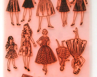 """Clear Stamps Large Sheet (7""""x10"""") Vintage  Fashion. Kids and Teens FLONZ 403-46"""